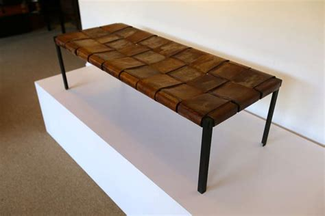 woven leather bench woven leather and iron bench at 1stdibs