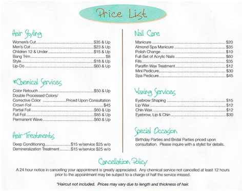 free hair salon price list