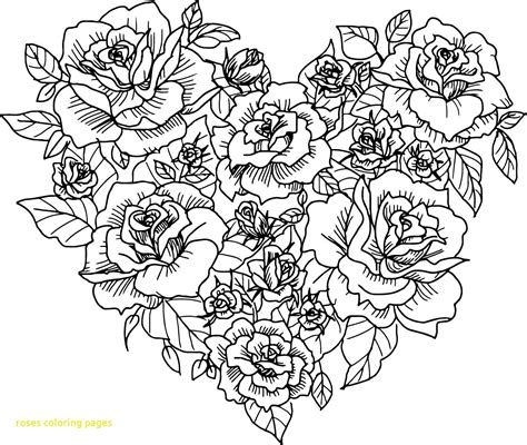 coloring pages of roses hearts with roses coloring pages printable coloring for