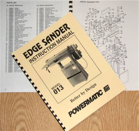 Powermatic Model 013 Edge Sander Instructions Parts Manuals