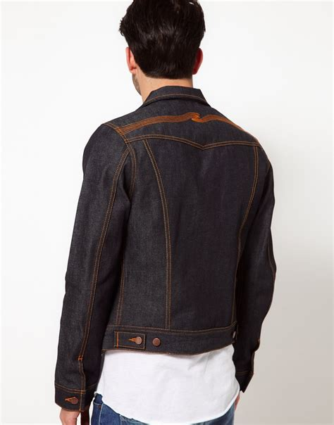 Bird Embro Denim Jacket nudie nudie denim jacket conny back embro organic in blue for lyst