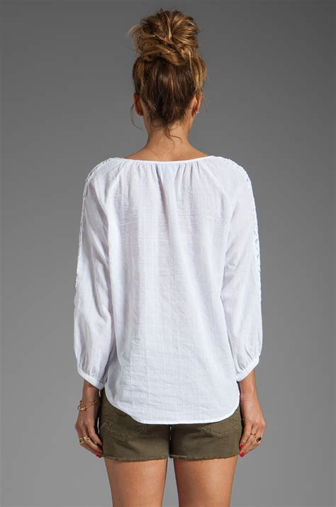 30779 White Cotton Blouse lyst c c california textured cotton 34 sleeve peasant top with lace blouse in white in white