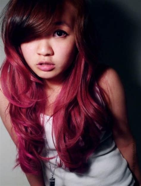 asian magenta highlight asian dark burgandy ombre hair how to get a pink ombre