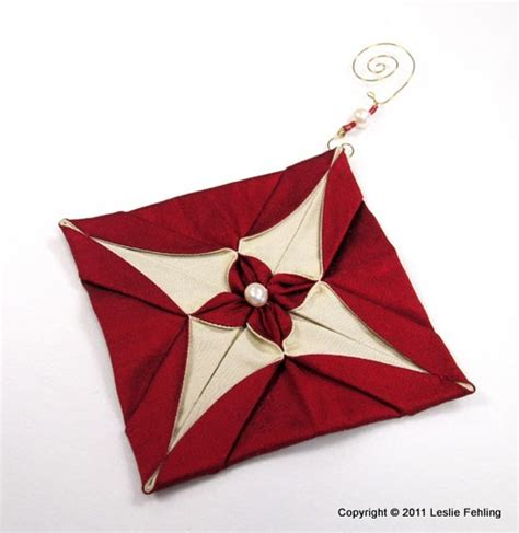 Fabric Origami Tree - everyday artist silk origami ornaments