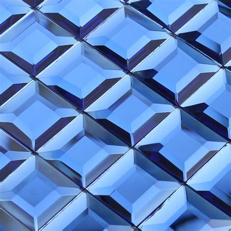 Wholesale mosaic tile crystal glass backsplash kitchen blue pyramid design bathroom wall