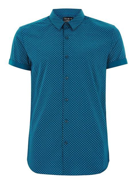 teal color shirt teal geometric print sleeve shirt topman