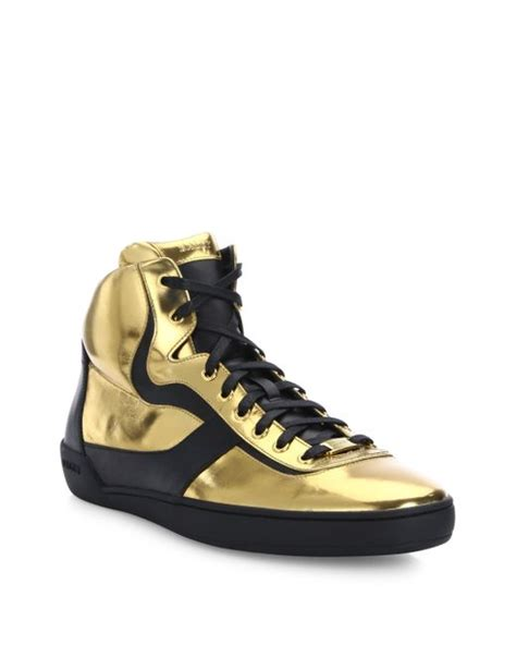 high top gold sneakers bally eroy metallic calf leather high top sneakers in gold