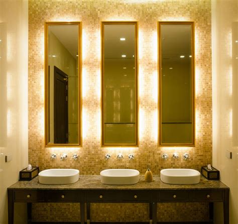 bathroom lighting and mirrors design elegant touch led lighting in hotel restroom