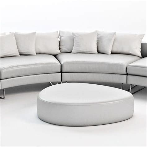 curved sectional leather sofa 3d models cgtrader