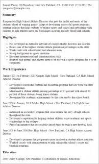 Sle High School Resume Profile Assistant Athletic Director Cover Letter