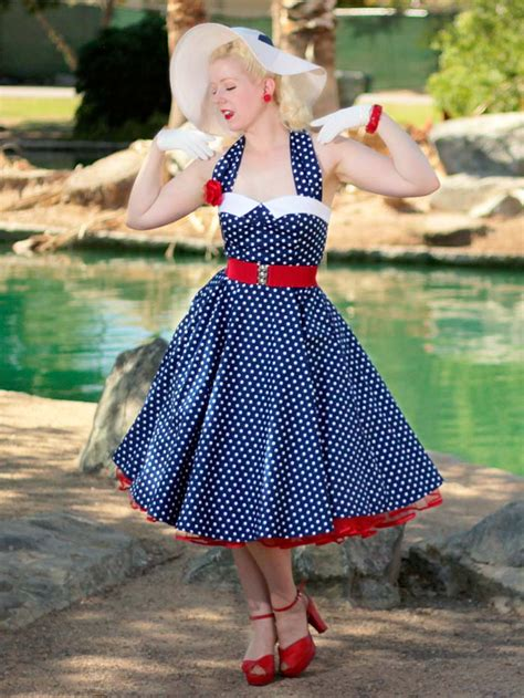 50s swing hairstyles 50s polka dot dress 1950s style swing dresses blue