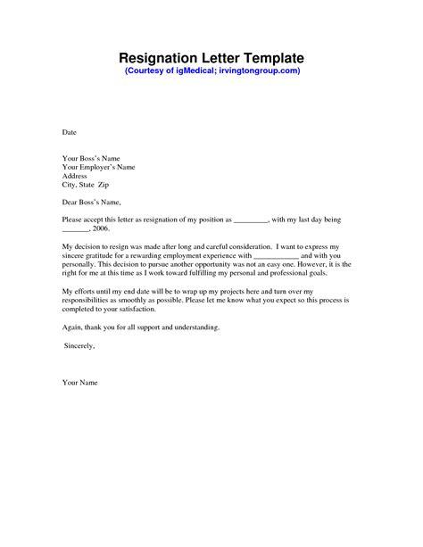 resignation letter sample resignation template