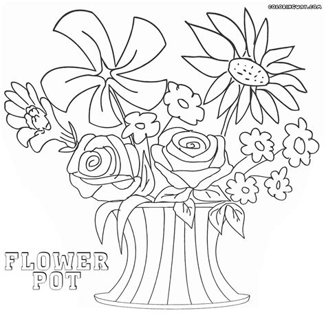 coloring page flower pot flower pot coloring pages coloring pages to download and