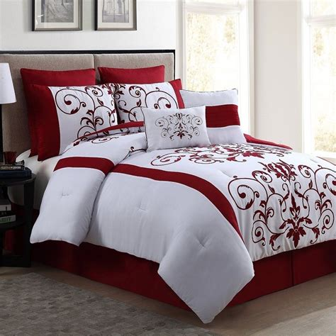 red and white comforters comforter set red 8 piece queen size luxurious bedding bed