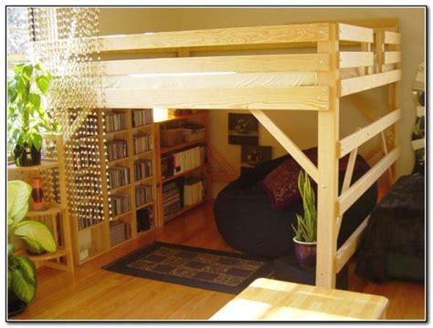 rustic adult loft bed  stairs  bookshelf