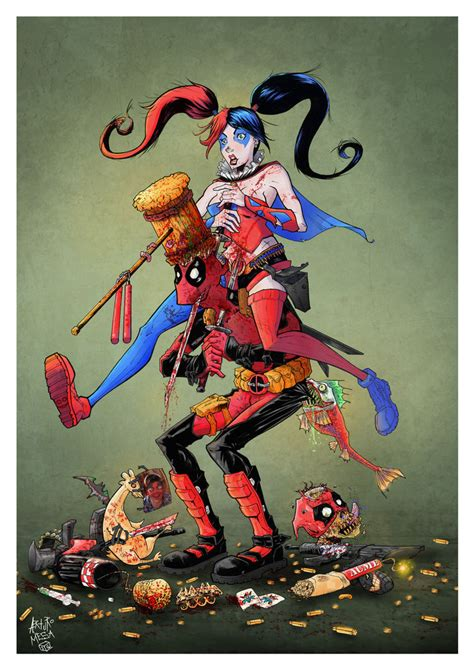 Dead Pool By Screaming Inc deadpool and harley quinn by arturomesa comic on deviantart