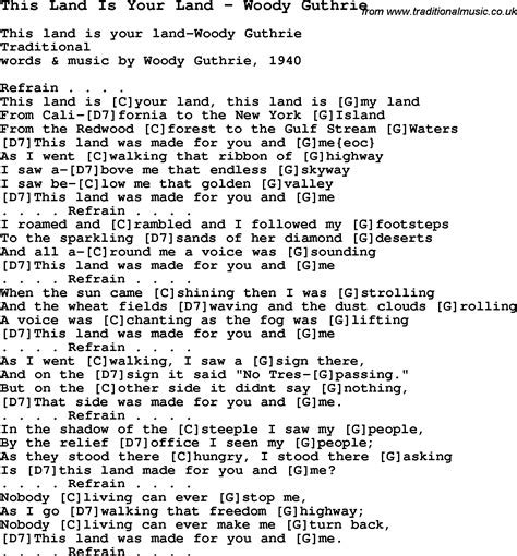 printable lyrics this land is your land this land is your land chords 2015confession
