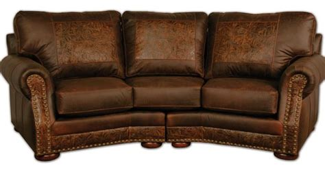 western tooled leather sofa curved leather sofa with tooled leather furniture