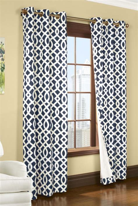 navy patterned curtains adorn your interior with white patterned curtains homesfeed