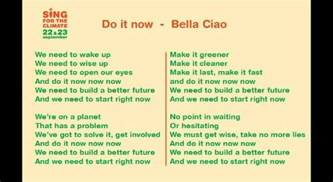 right now testo sing for the climate do it now instrumental lyrics