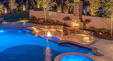 designer pools custom pool with firepit pools for home