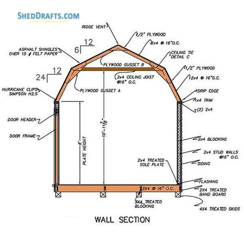 gambrel storage shed plans blueprints  barn style