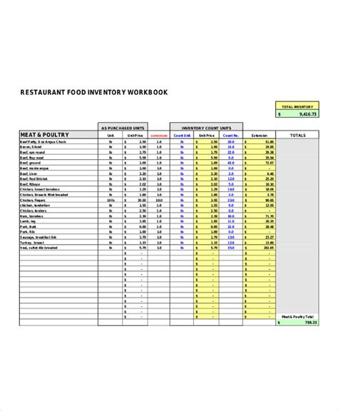food inventory list template restaurant inventory list templates 5 free word pdf