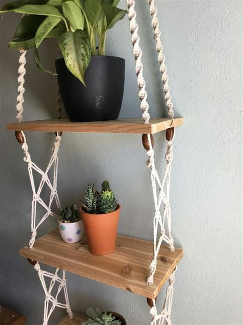 the right height to hang shelves diy inspired three tier macrame and cedar shelf with fun wooden beads