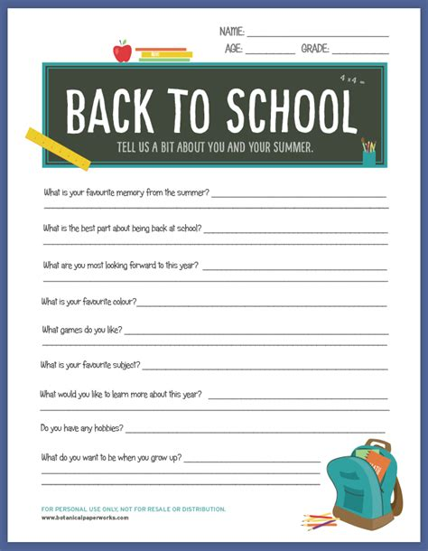 Free Printable School Worksheets by Free Printable Back To School Worksheet