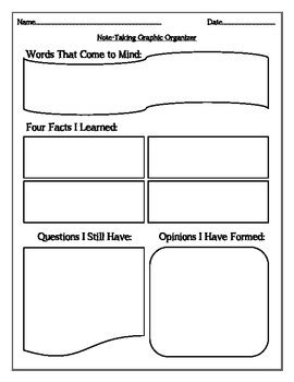 biography notes graphic organizer note taking thoughts facts questions opinions
