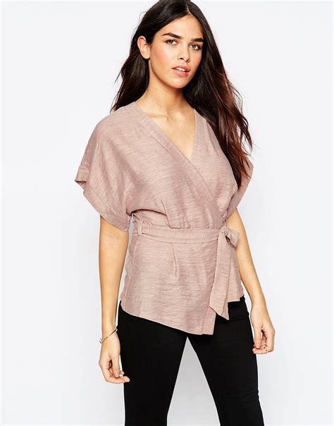 Light Pink Wedges Asos Casual Obi Band Wrap Blouse Pink In Natural Lyst