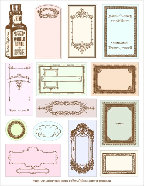 free label templates apothecary labels