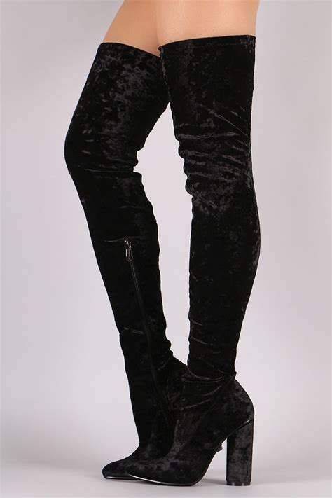 crushed velvet the knee thigh high chunky heel boots