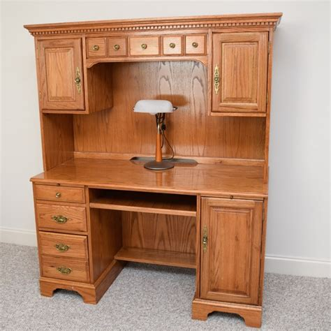 Oak Desks With Hutch Golden Oak Computer Desk Hutch With Desk L Ebth