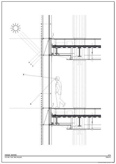C Drawing On Screen by Glass Screen Facade Details Renzo Piano The New York