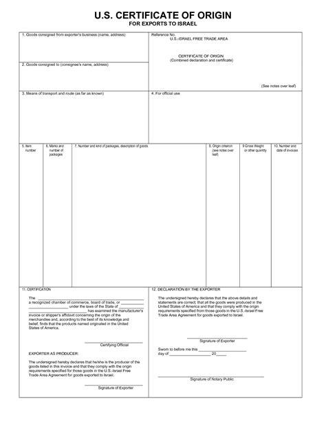 blank certificate of origin form usa templates resume