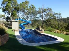 Backyard Pool Water Slides Of Home Pool Slides Backyard Design Ideas