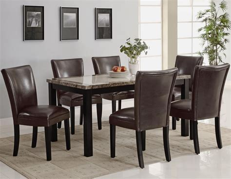 Carter Dark Brown Wood And Marble Dining Table Set Steal Marble And Wood Dining Table