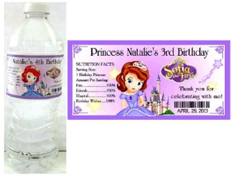 sofia the water bottle labels 20 princess sofia the birthday favors water