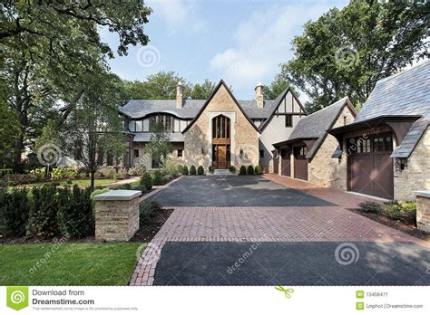 Luxury Home With Four Car Garage Stock Image Image 13458471 Luxury Home Plans With 4 Car Garage