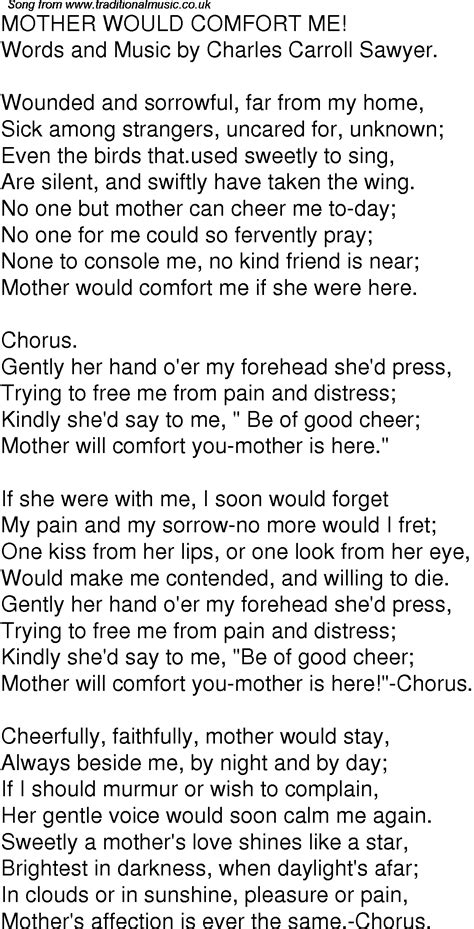 comfort lyrics old time song lyrics for 01 mother would comfort me