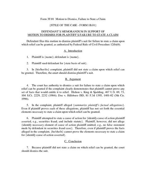 motion to dismiss with prejudice template best photos of sle motion forms sle motion for