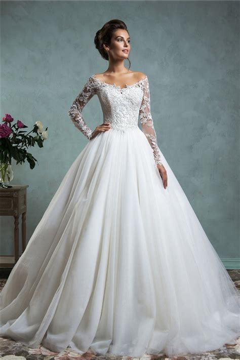 Wedding Dresses Sleeve by Gown The Shoulder Tulle Lace Wedding Dress