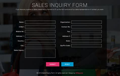 sales inquiry form template 90 best free html5 form templates 2017