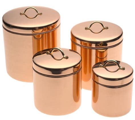 copper kitchen canister sets dcor copper canisters set of 4