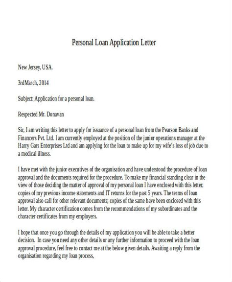 Personal Loan Application Letter To Company 47 application letter template free premium templates