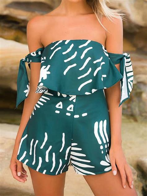 Sleeve Shoulder Playsuit green shoulder leaf print tie sleeve romper playsuit