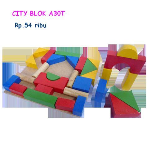 Mainan Edukatif Stacking mainan kayu edukatif city block