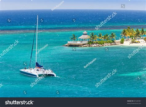 catamaran boats in jamaica catamaran sails on caribbean sea ocho stock photo 81528781