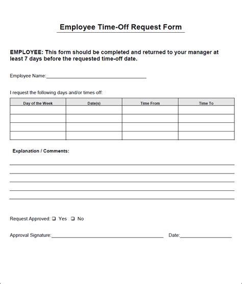 free printable time off sheets time off request form templates sles and templates